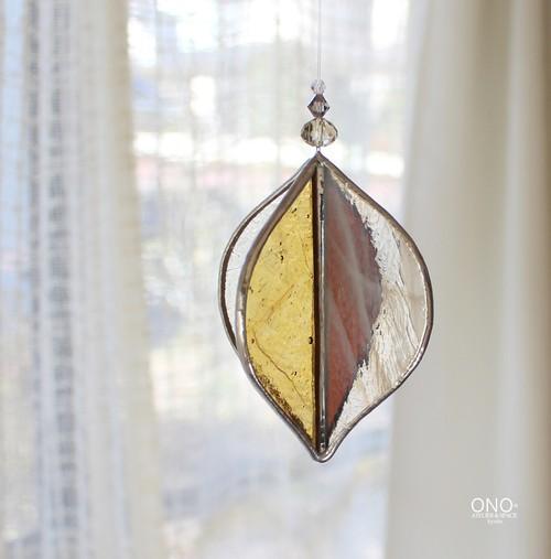 岩田けいこ*ステンドグラス キラキラシリーズ 立体四面  山吹紅茶色