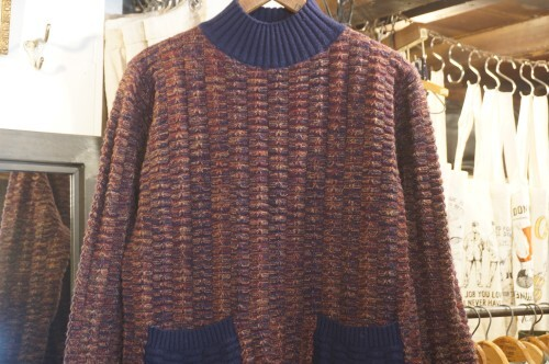 90's cashmere hi-neck tunic Sweater w/pockets
