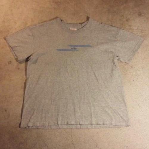 ナイキNIKEロゴプリントTシャツL霜降りグレー90sオールドUSA製ビンテージ