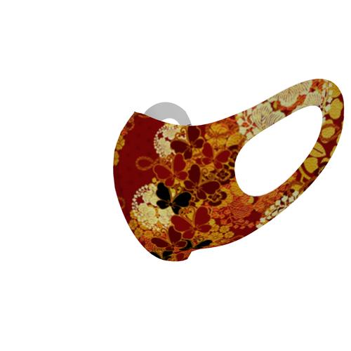 華と蝶家紋Red 和柄ファッションマスク Sサイズ