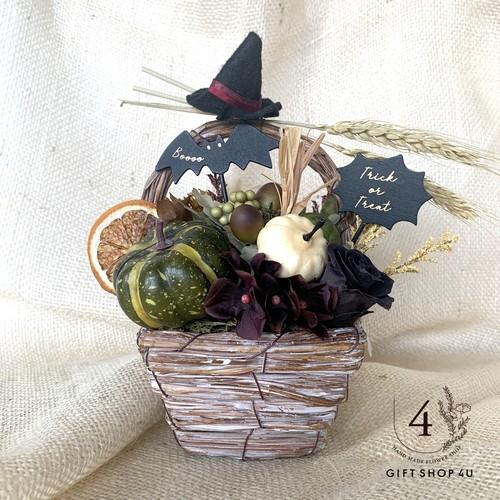 【ハロウィン2019】ハロウィンウッドバッグアレンジ 大人アンティークカラー 魔女帽子 コウモリ22