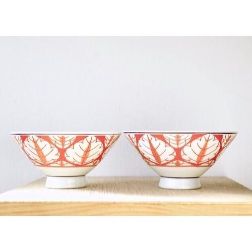 【 retro 飯茶碗 - orenge red - 】葉柄 / 朱塗り / 茶碗 / デッドストック / 昭和 / japan