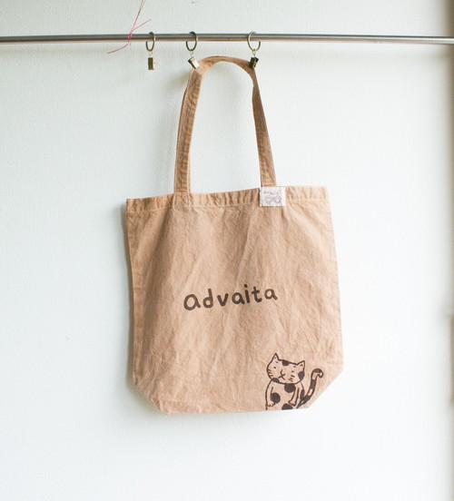 猫さん フラワーオブライフ advaita 頒布トートバック 枇杷の葉染め ネッコ