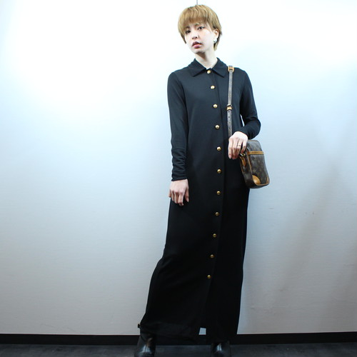 2000000026626 GUCCI GOLD BUTTON MAXIMUM LENGTTH ONE PIECE MADE IN ITALY/グッチ金ボタンマキシ丈ワンピース