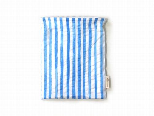 ハリネズミ用寝袋 M(夏用) 綿リップル×スムースニット ストライプ ライトブルー / Regular Snuggle Sack for Hedgehog for Summer
