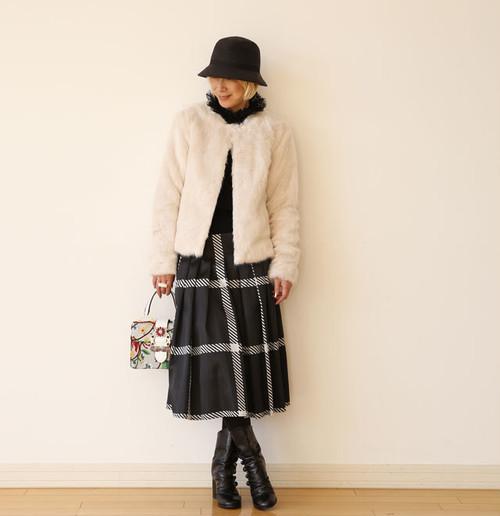 モノトーンチェックフレアースカート:REB-050 ¥23,000+tax