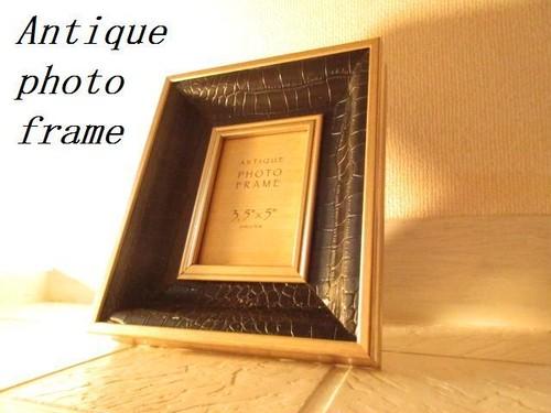 高級バロック調フォトフレーム フォトスタンド 写真立て オブジェ ロココ調 ヴィクトリア調 アンティーク調 レリーフ 黒 B