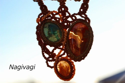 Chrysocolla malachite & Crazylaceagate & Rutilatedquartz macrame necklace