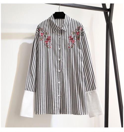 花柄 和柄 刺繍 ストライプシャツ トップス・ブラウス・カットソー フラワー 長袖