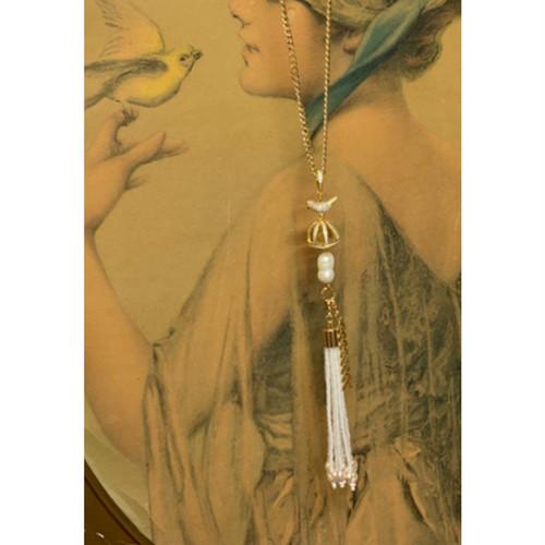 Item671 マスクチャーム&コードネックレス 小鳥の王冠 タッセル 双子の淡水パール