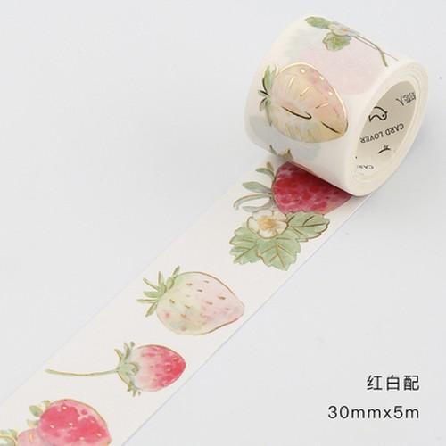 赤白いちご【信的恋人】箔押し 剥離紙