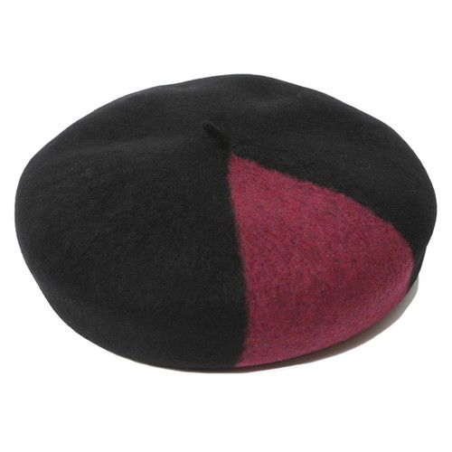 BI-COLOR WOOL BERET (BLACK/BURGUNDY) / RUDE GALLERY