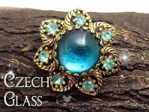 チェコガラス☆アクアブルー カボッションガラス フラワー ヴィンテージ ブローチ,1950s,花