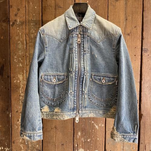 SUGARHILL シュガーヒル / Zip-up Denim Damaged Jacket / Faded indigo / size 2