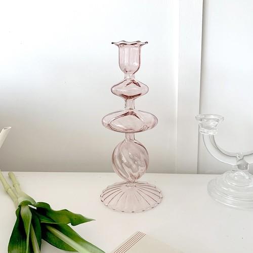 french pink vase / フレンチ ピンク ガラス ベース オブジェ 花瓶 韓国 北欧 インテリア 雑貨