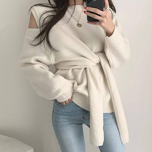 【トップス】韓流ファッションchicオープンショルダラウンドネックボウタイニットセーター