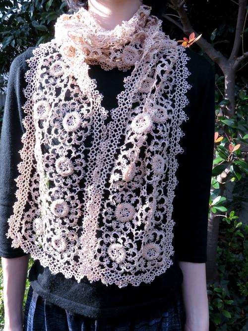 手編み タティングレース スカーフ ベージュ
