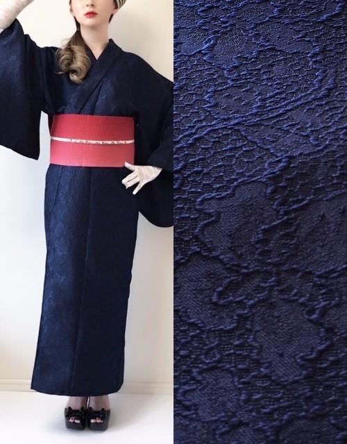 【完売】 2分で着れるかんたん浴衣と作り帯のセット(ネイビー)