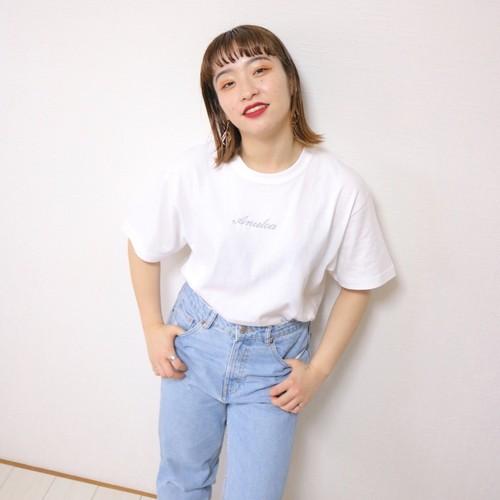 ラメ刺繍Tシャツ シルバー