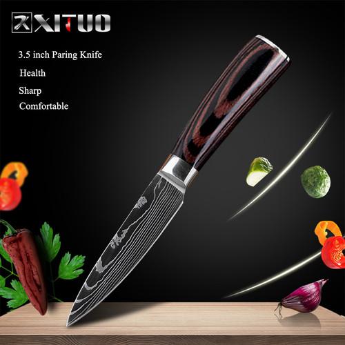 ダマスカスパターン包丁 【XITUO 公式】 ペティナイフ 刃渡り15cm  7CR17 ks20030606