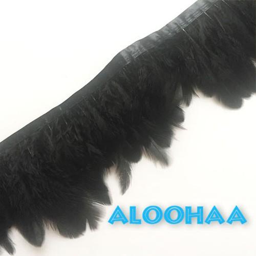 フェザーロール【黒】7-12cm丈 1m DIY 羽 衣装材料 タヒチアン