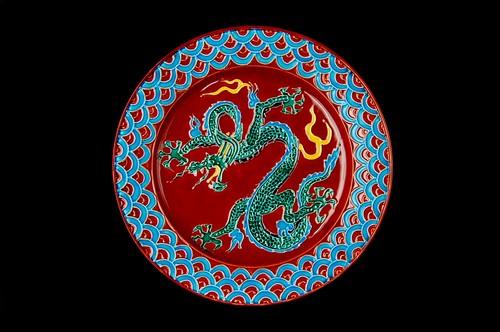 ◆受注生産◆赤交趾龍8寸皿 高島慎一作