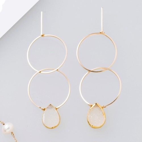 雑誌掲載[装苑]1月号14kgf*monotone Druzy W rings pierced earring