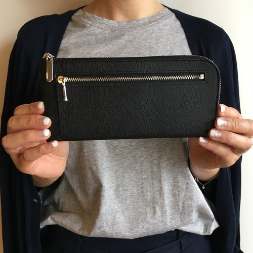薄くて軽くて大容量な長財布 14ZipWallet 牛革 ブラック Squeeze スクイーズ 日本製
