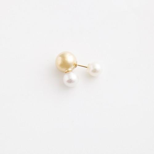 simmon/Brown Bunny Tale Pierce_Gold+Pearl(片耳)