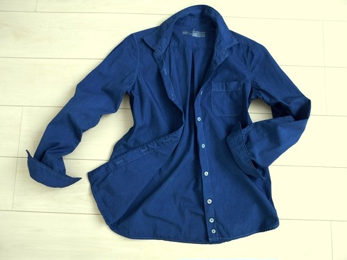 ◆100%自然素材 天然灰汁発酵建て 本藍染◆ オーガニックコットン100% ブロード長袖シャツ
