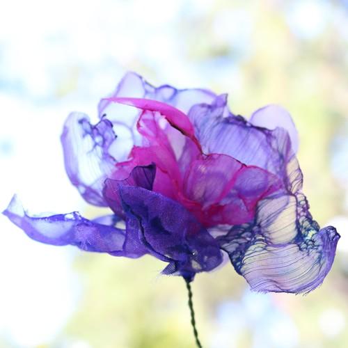 カラフルオーガンジーのアートフラワー【造花】|ピンク紫