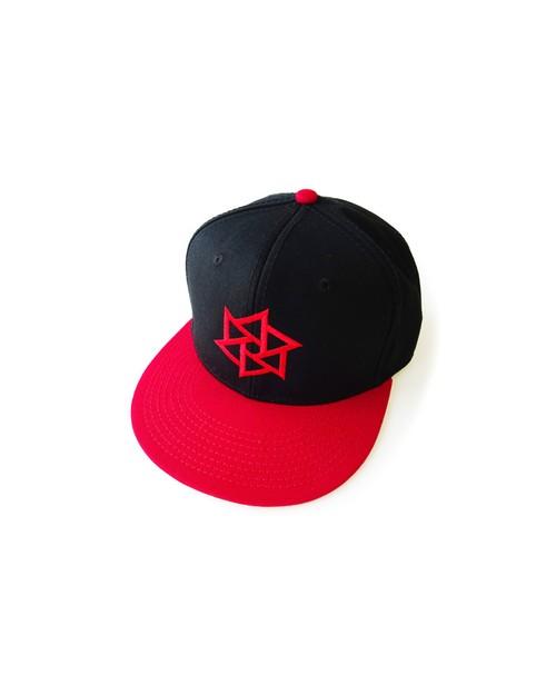 帽子1号 「鱗廻(りんね)」 黒と赤