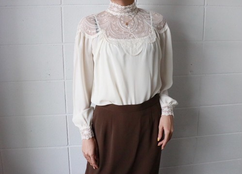 off white mocneck laced blouse