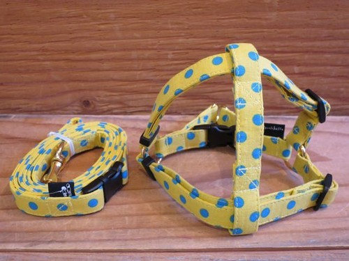 Polka Dot Harness & Leash - S(小型犬用)