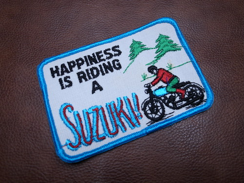 HAPPINESS IS RIDING A SUZUKI Vintage Patch