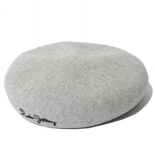 LOGO EMBROIDERED WOOL BERET (LIGHT GRAY) / RUDE GALLERY