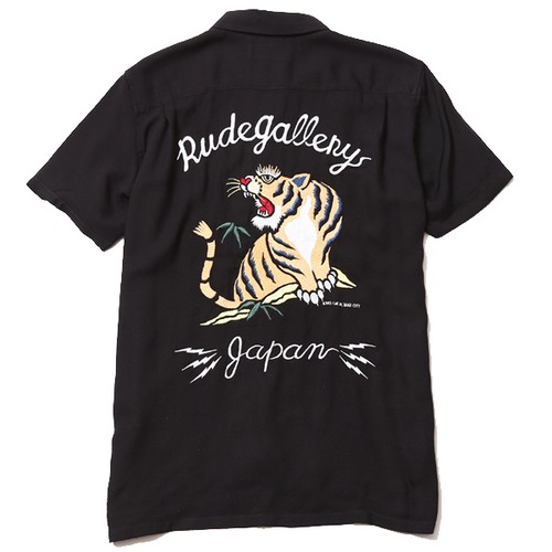 """SOUVENIR OPEN COLLAR SHIRT"" (BLACK) /  RUDE GALLERY"