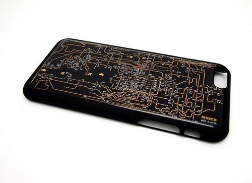 関西回路線図 iphone6/6s  case 黒【LEDは光りません】【東京回路線図A5クリアファイルをプレゼント】