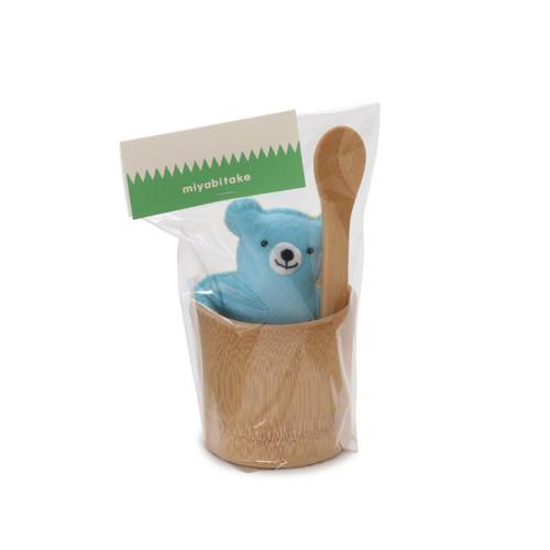 くまさんギフト すす竹の器とスプーンセット(あお) 【41-152】