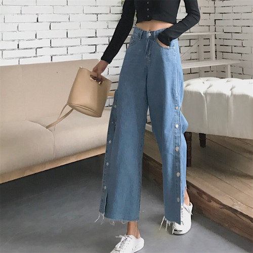 ♡high-waist side button pants 5847