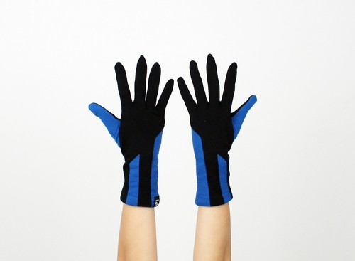 % PERCENT ジャージー 手袋(ブラック・ブルー)女性用・ウール100%・スマホ対応・縫製手袋