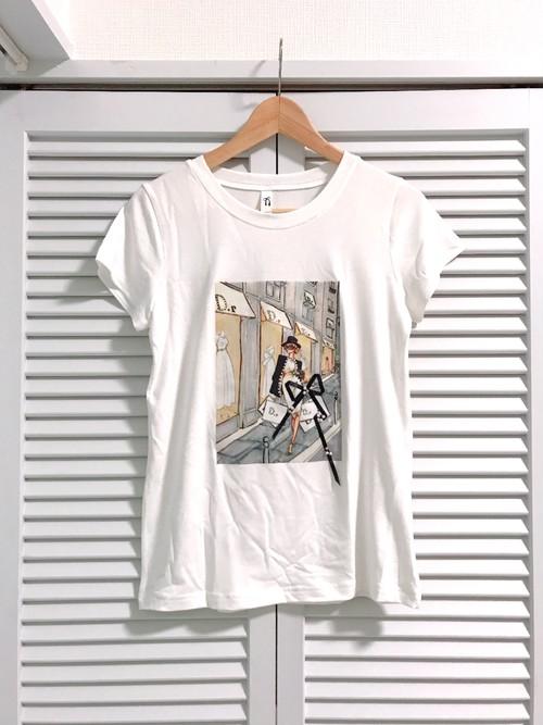 パールとリボンのショッピングガールTシャツ ホワイト