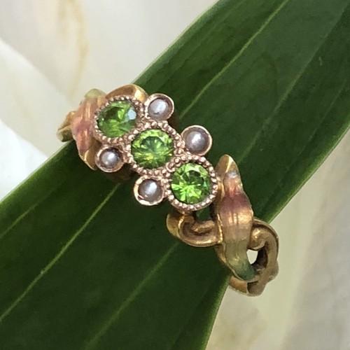 Art-Nouveau Demantoid Enamel Ring
