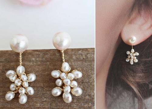あこや真珠と淡水真珠のイヤージャケットスタイル・ピアス(ロング)