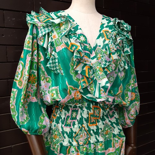 80's Flower patterned frill dress 80年代花柄フリルワンピース
