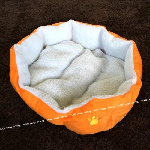 犬猫用 ベッド オレンジ 【Lサイズ】