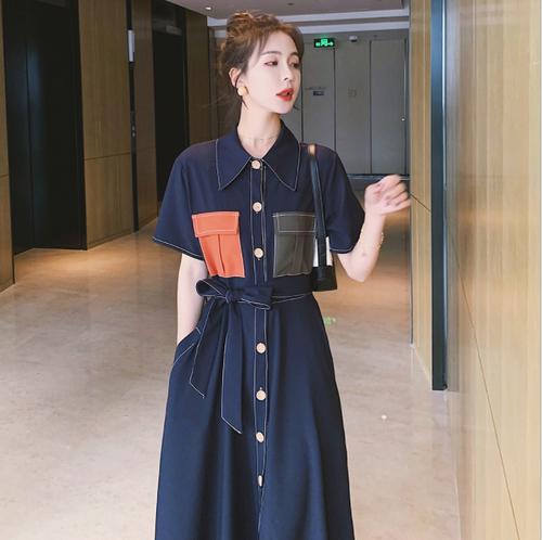【dress】おすすめボタンデザイン人気レトロデートワンピースベルト付き