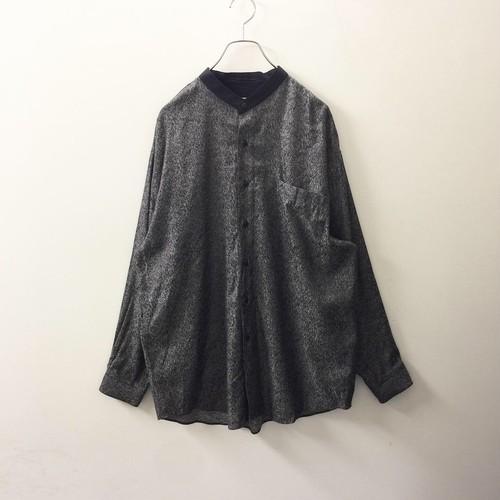 CITY STREETS 総柄バンドカラーシャツ レーヨン/ポリエステル グレー size M オーバーサイズ メンズ 古着