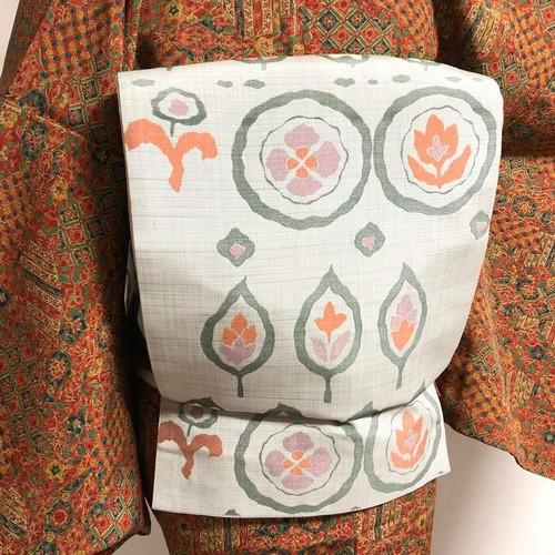 洒落袋 紬地 六通 丸文と葉っぽ模様 織出し グレー
