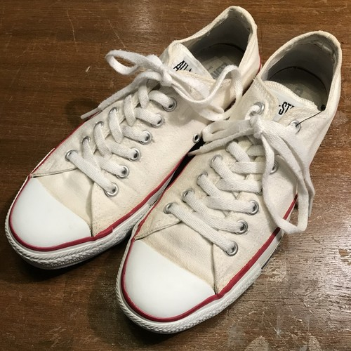 90's CONVERSE コンバース ALL STAR LOW オフホワイト 生成り USA製 US8 1/2 希少 ヴィンテージ